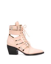 Botines con cordones de cuero rosados de Chloé