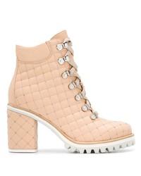 Botines con cordones de cuero rosados de Le Silla