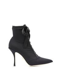 Botines con cordones de lona negros de Dolce & Gabbana