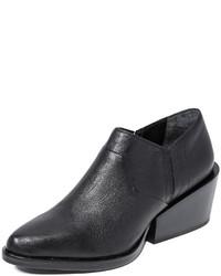 Botines con cuña de cuero negros de DKNY