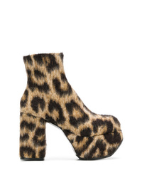 Botines de ante de leopardo marrónes de R13