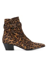 Botines de ante de leopardo marrónes de Saint Laurent