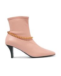 Botines de cuero con adornos rosados de Jil Sander