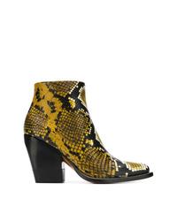 Botines de cuero con print de serpiente amarillos de Chloé