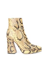 Botines de cuero con print de serpiente amarillos de Proenza Schouler