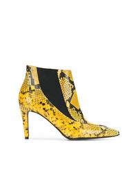 Botines de cuero con print de serpiente amarillos de Zadig & Voltaire