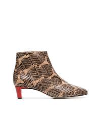 Botines de cuero con print de serpiente marrónes de Atp Atelier