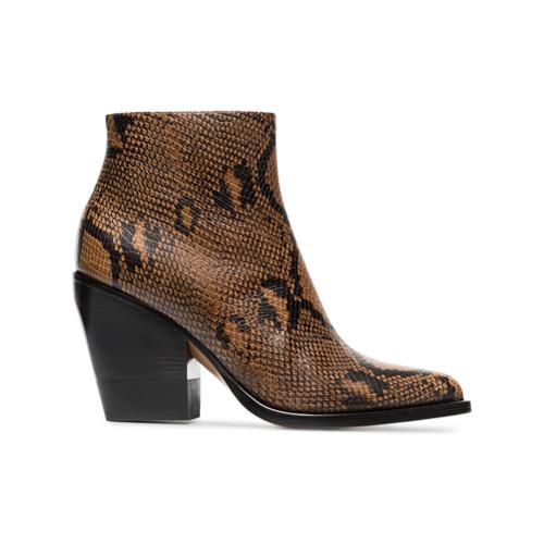 Botines de cuero con print de serpiente marrónes de Chloé