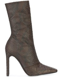 Botines de cuero con print de serpiente marrónes de Yeezy