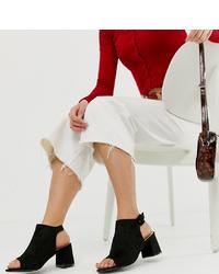 Botines de cuero con recorte negros de Glamorous Wide Fit
