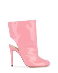 Botines de cuero con recorte rosados de Natasha Zinko