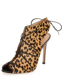 Botines de cuero de leopardo marrón claro
