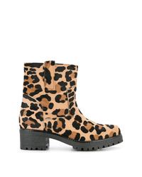 Botines de cuero de leopardo marrón claro de P.A.R.O.S.H.