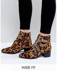 Botines de Cuero de Leopardo Marrónes de Asos
