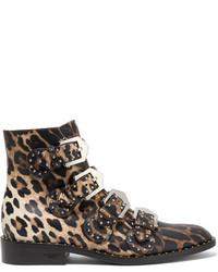 Botines de Cuero de Leopardo Marrónes de Givenchy