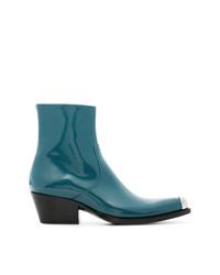 Botines de cuero en verde azulado de Calvin Klein 205W39nyc