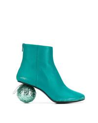 Botines de cuero en verde azulado de MM6 MAISON MARGIELA