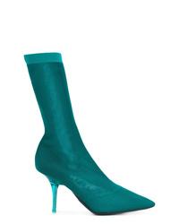 Botines de cuero en verde azulado de Yeezy