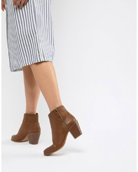 Botines de cuero marrónes de ASOS DESIGN