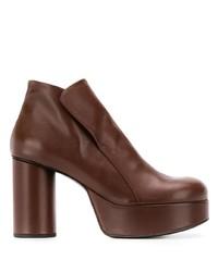 Botines de cuero marrónes de Jil Sander