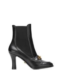 Botines de cuero negros de Versace