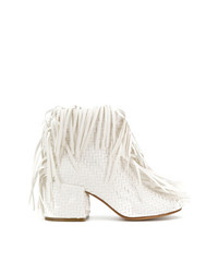 Botines de cuero сon flecos blancos de MM6 MAISON MARGIELA