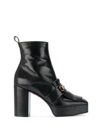 Botines de cuero сon flecos negros de Gucci