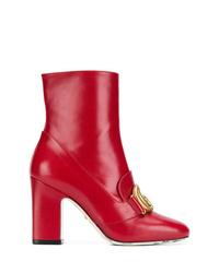 Botines de cuero rojos de Gucci