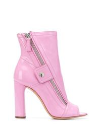 Botines de cuero rosados de Casadei