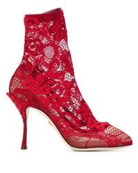 Botines de encaje rojos de Dolce & Gabbana