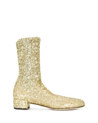 Botines de lentejuelas con adornos dorados de Dolce & Gabbana