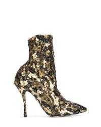 Botines de lentejuelas dorados de Dolce & Gabbana