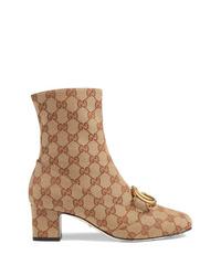 Botines de lona estampados marrón claro de Gucci