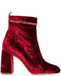 Botines de Terciopelo Burdeos de RED Valentino