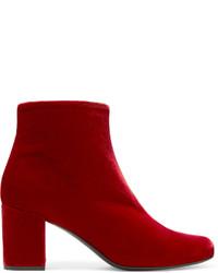 Botines de terciopelo rojos