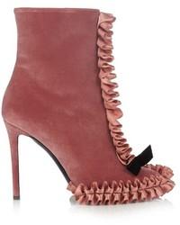 Botines de terciopelo rosa