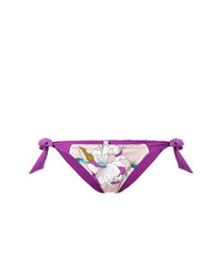 Braguitas de bikini con print de flores en beige de Carine Gilson