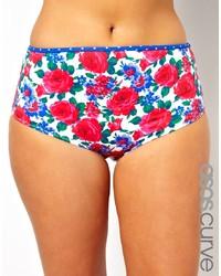 Braguitas de bikini con print de flores en multicolor de Asos Curve