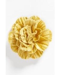 Broche de solapa con print de flores amarillo