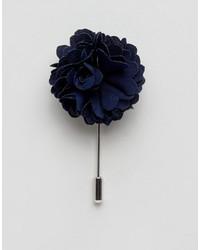 Broche de solapa con print de flores azul marino