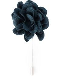 Broche de solapa con print de flores azul marino de Lanvin