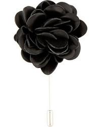Broche de solapa con print de flores negro de Lanvin