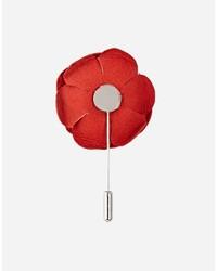 Broche de solapa con print de flores rojo de Asos