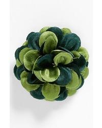 Broche de solapa con print de flores verde