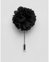 Broche de Solapa de Flores Negro