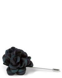 Broche de Solapa de Flores Negro de Lanvin