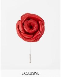 Broche de Solapa de Flores Rojo de Asos