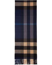 Bufanda a cuadros azul marino de Burberry