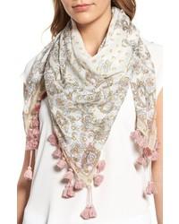 Bufanda con print de flores blanca