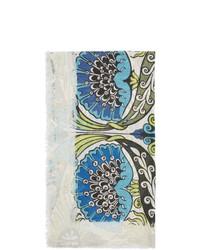Bufanda con print de flores celeste de Loewe